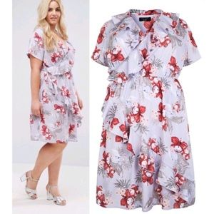 New Look Plunge Neck Floral Ruffle Wrap Dress